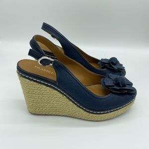 NWOB Franco Sarto Navy Blue Destiny Wedge Size 9